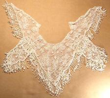 Extra large beaded fringe applique epaulet sides flower design pearl white shawl