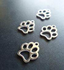 Small Stainless Steel Laser Cut Charms - Animal Paws - Set of 5