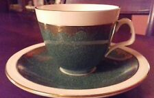 FOLEY c1950s #4393 Green & Gold Coffee Cup and Saucer. ( E. Brain & Co Ltd)