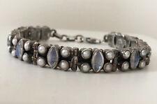 "Vintage Nicky Butler Sterling Silver 925 Moonstone & Pearl Inlaid Bracelet 7.5"""