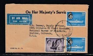 SINGAPORE Commercial Cover Singapore to Boulder 24-3-1958 Cancel