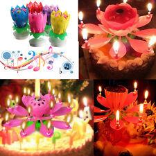 fleur de lotus Bougie Musicale tournante Anniversaire Parti Candle Magic Hot