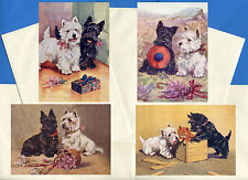 SCOTTISH WESTIE TERRIER 4 VINTAGE STYLE DOG PRINT GREETINGS NOTE CARDS #1