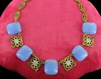 "ANTIQUE ART DECO CZECH FILIGREE BLUE GLASS~ FLOWER ENAMEL NECKLACE 15"" STUNNING!"
