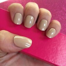 Hand Painted Full Cover False Nails. High Gloss Nude Short Petite Nail. 24 Nails