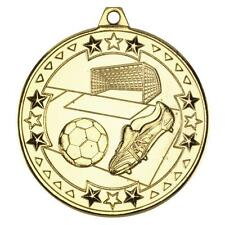 50 x 50mm Gold Football medals with FREE medal ribbons,FREE Delivery