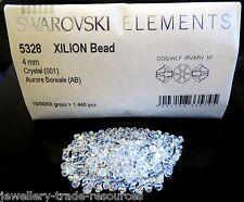 25 x 4mm Swarovski Elements 5328 Xilion Clear Crystal Bicone Bead 001 AB