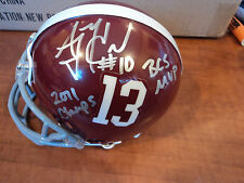 GREG MCELROY & AJ MCCARRON Signed ALABAMA Mini Helmet w /Insc GAI GA GLOBAL COA