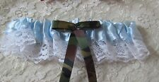 Wedding Ceremony Party Reception Blue Toss Garter with Camo Bow & Ribbons