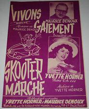 Partition vintage music sheet YVETTE HORNER : Vivons Gaiement * Accordéon