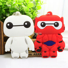 2pcs New Super Big Hero 6 Baymax Rubber Silicone Keyring Keychain White Red