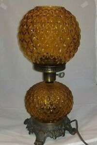 Vintage Amber Quilted Double Globe Hurricane Brass Parlor Table Lamp