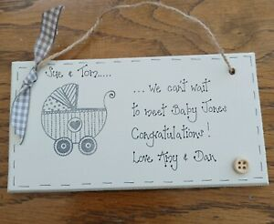 Personalised Mummy & Daddy to be new baby arrival hanging plaque keepsake