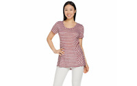 Lisa Rinna Collection Sheer Striped Knit Top Slate Blue Small A288994 QVC J