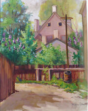 """Blanche Fox Morey Arts & Crafts Opaque Water Color Painting """"Lilack sic Time"""""""