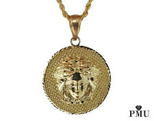 Medusa 10k Yellow Gold Pendant with Rope Chain Set Men's Fine Jewelry