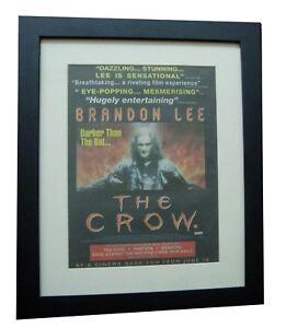 THE CROW+Movie+Film+BRANDON LEE+POSTER+AD+RARE+ORIG 1994+FRAMED+FAST GLOBAL SHIP