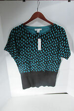 August Silk Women Large Top Turquoise dots cotton/nylon 92/8  $39.00  2949
