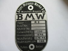 Typenschild BMW R 2 R2 8PS oldtimer Motorrad s41 geätzt
