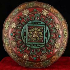 Chinese Antique Tibetan Buddhism old copper hand-set gemstones Mandala plate