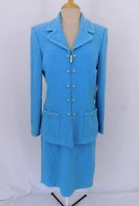 St. John Couture Blue Mist Boucle Knit Zip Front Blazer and Skirt Suit $1295 NWT