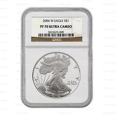New 2006 W American Silver Eagle 1oz NGC PF70 Ultra Cameo Graded Slab Proof Coin