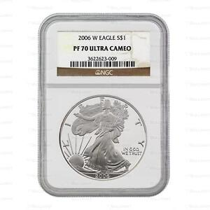 New 2006 W American Silver Eagle 1oz NGC PF70 Ultra Cameo Graded Proof Coin