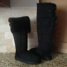 UGG Bailey Button Over The Knee Black Suede Sheepskin Cuff Boots Size 9 Womens