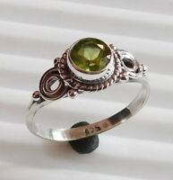 2.40 Gm 925 Solid Sterling Silver Ring Natural Peridot Ring Stone  Size 8 i-2255
