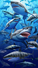 "Sharks Towel Great White Ocean Life Beach Pool EXTRA LARGE 40""x70"""