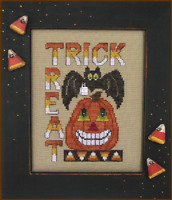 HINZEIT Cross Stitch Chart with 1 Charm TRICK OR TREAT Halloween