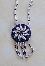 Vintage Handcrafted Beaded Medallion Necklace Navy Blue White Rawhide Southwest