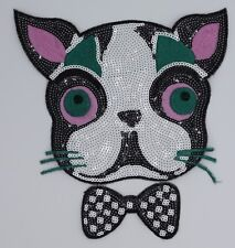 Sequin Patch: Bow Tie Cat (M148)