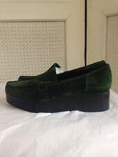 ROBERT CLERGERIE PARIS Green Suede Low Platform Loafers Shoes Uk7 EU39.5 USA 9