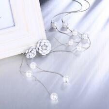 18K White Gold Plated CZ Pearl With White Rose Long Chain Necklace