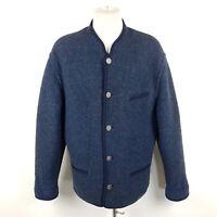 Giesswein Trachtenjacke Herren Gr. 54 Blau Meliert Wolle Loden-Jacke Strickjacke