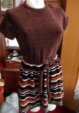 sz 4-6 True Vtg 70s BROWN VELOUR STRIPED MOD MINI SKIRT DRESS VICKY PETITES