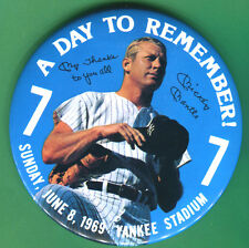RARE/ORIGINAL 6/8/69 YANKEES MICKEY MANTLE RETIREMENT PIN BUTTON-SPORTS MAG-4/69