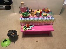 """New Our Generation Picnic Table Food Set Fits 18"""" Doll - American Girl"""