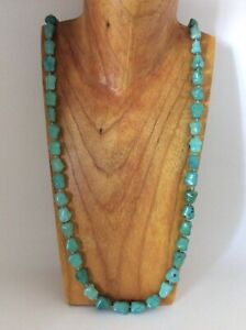 Antique Chinese Turquoise Bead Necklace - 38 Inches 100g - 14K Clasp