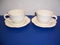 Pottery Barn Emma White 2 Flat Cups & 2 Saucers Beaded Edge Portugal NICE