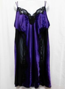 Cacique Nightgown Negligee Satin Slip Plus 22 24 Purple Black Lace Sheer Panels
