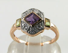 SUFFRAGETTE 9K 9CT ROSE GOLD AMETHYST PERIDOT DIAMOND ART DECO INS RING Free Sz