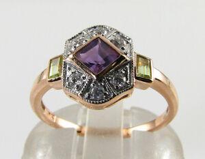 SUFFRAGETTE 9K 9CT ROSE GOLD AMETHYST PERIDOT DIAMOND ART DECO INS RING Free Sz