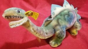 "Steiff Stegosaurus 1959 RARE Dinos button flag chest tag 1312.90 Dino 12"""