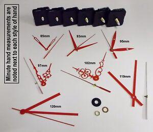 DIY Quartz Clock Movement Mechanism with Red Hands & Parts. Repair / Wall Clock