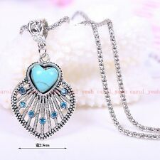 new Christmas!Tibet silver inlaid natural turquoise feather necklace pendant