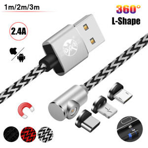 360° Elbow Magnetic Lighting Micro USB Charger Cable For Android iPhone Samsung