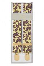 Mustard Yellow Paisley Trouser Braces Suspenders Mens Gold Clips XL XXL Long