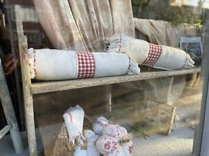 Vintage Bolster Cushion. Antique Linen & Red Gingham, French Shabby Chic 1pc